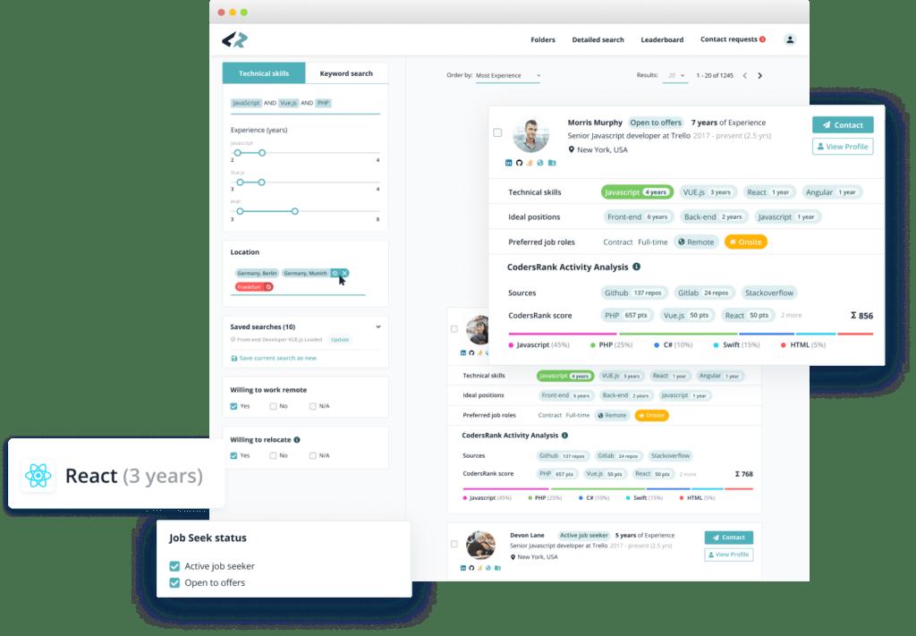Codersrank search admin